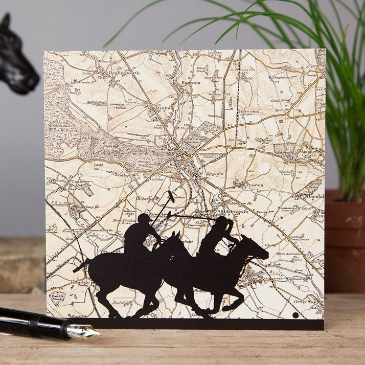 Polo at Cirencester Vintage Map Card