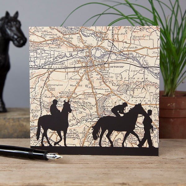 Newbury Horse Racing Vintage Map Card
