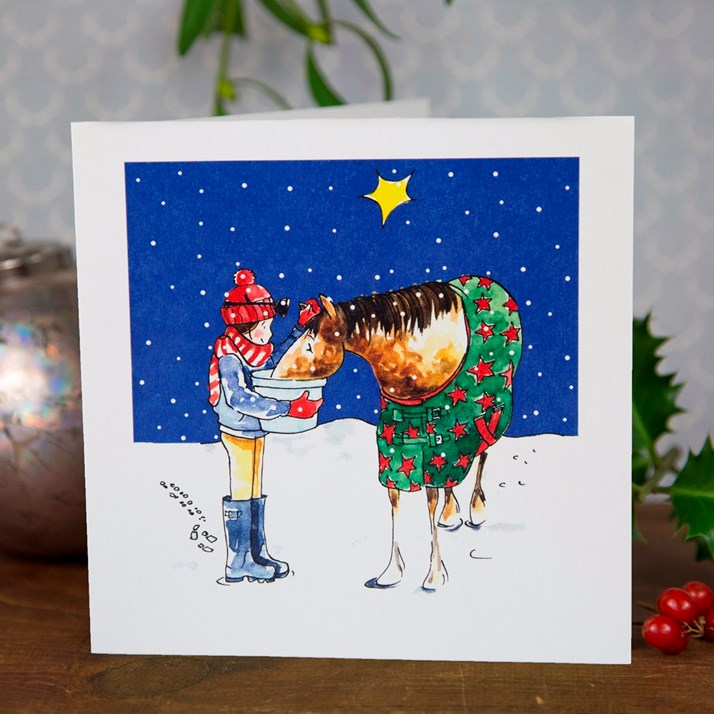 Horsey Christmas Dinner Greeting Card