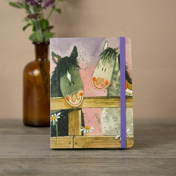 Horse Whispers Small Chunky Horse Gift Notebook with purple elastic strap
