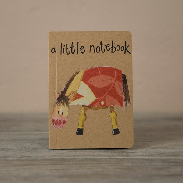 'a little notebook' brown with a cartoon horse image