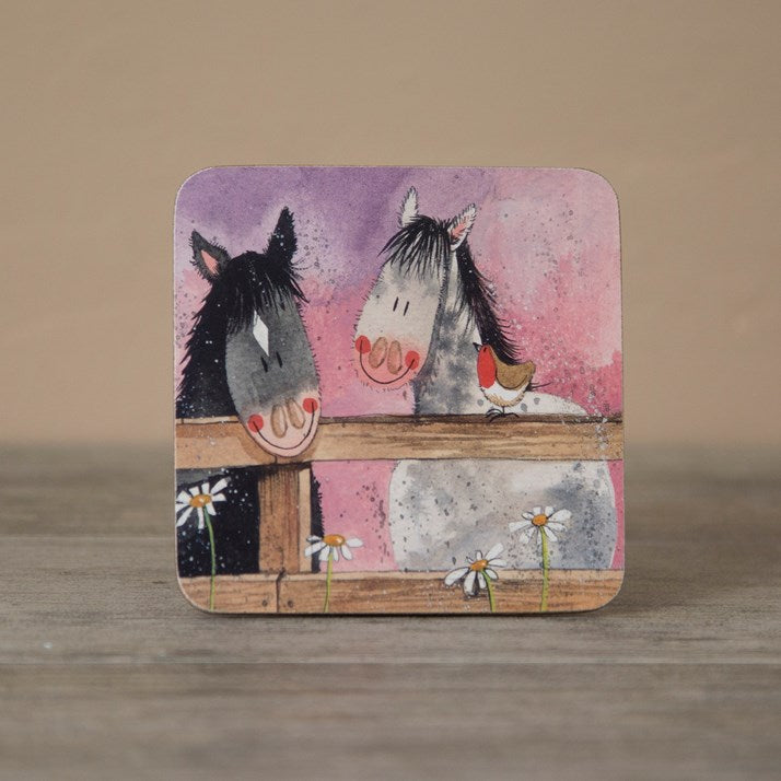 Wooden backed coaster with 2 cartoon horses peering over the fence with daises