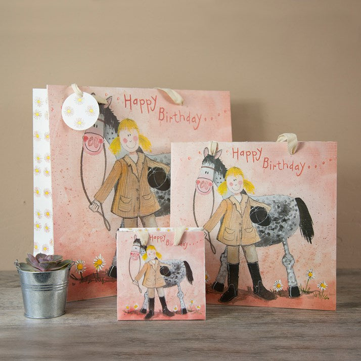 Pink Happy Birthday Gift Bag with horse and girl rider. Cotton handles