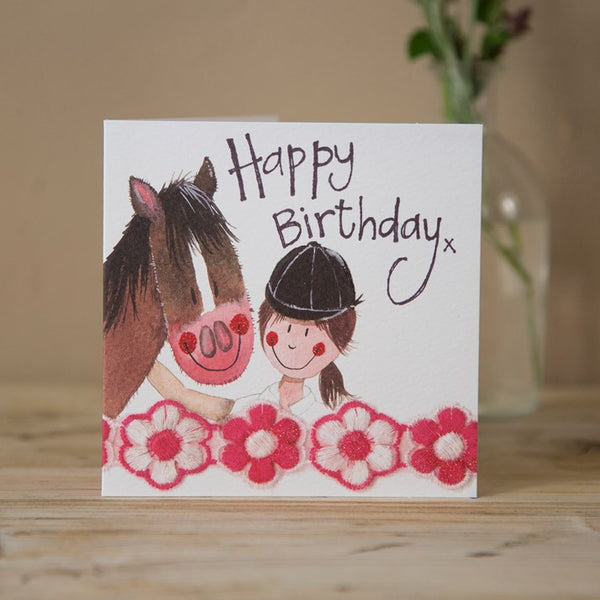 'Top Team' Horse & Rider Sparkle Birthday Card