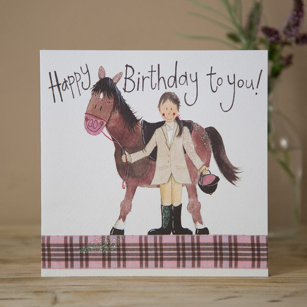 'Girl & Pony' Sparkle Horse Birthday Card