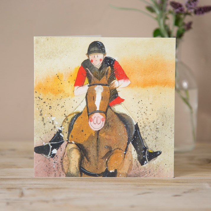 Alex Clark Race Horse & Jockey Greeting Card