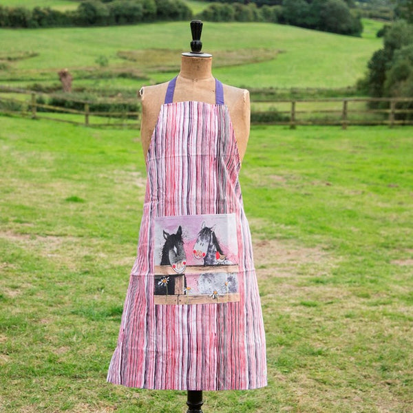 Pink and purple striped Alex Clark apron featuring 2 horses peering over fence image