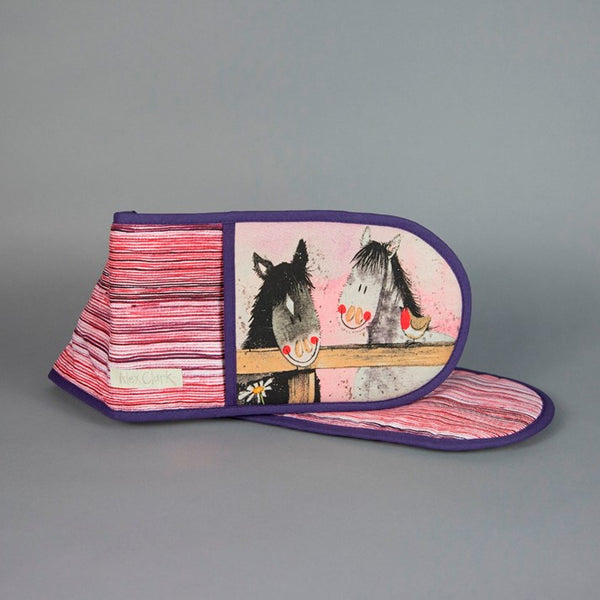 Pink and purple striped Alex Clark Horse Whispers Oven Gloves