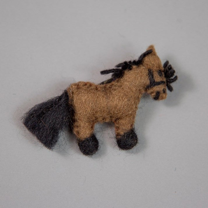 Bay Brown Felt Pony Brooch