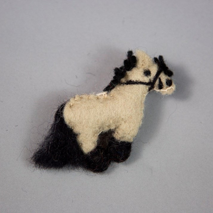 Cream and Black Dun Felt Pony Brooch