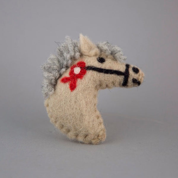Beige Felt Pony Head Brooch