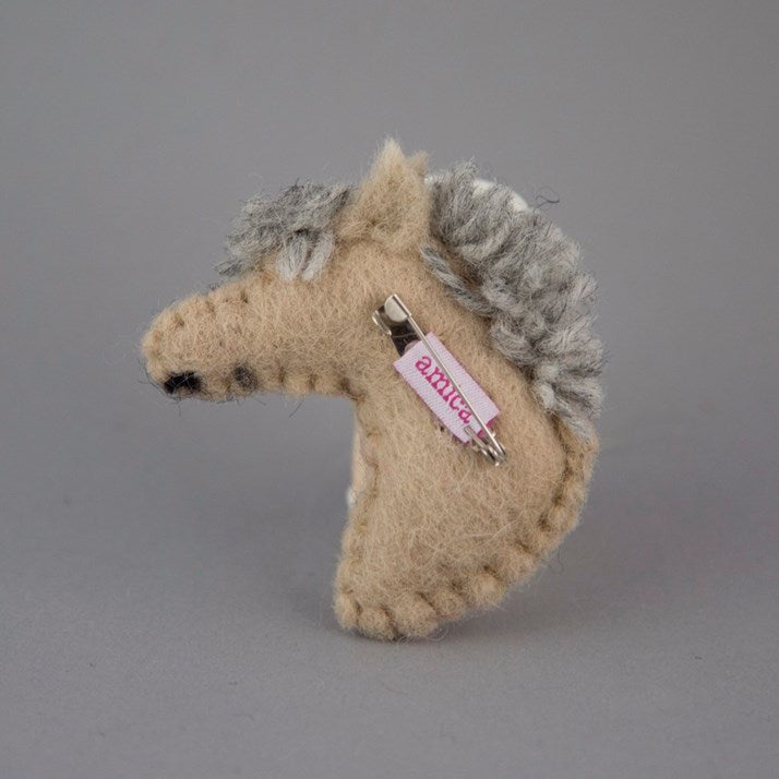 Felt Pony Head Brooch