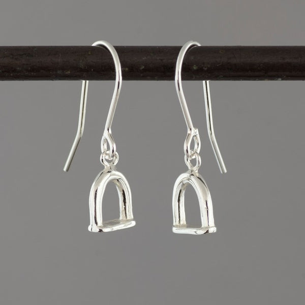 Solid Silver Stirrup Drop Earrings
