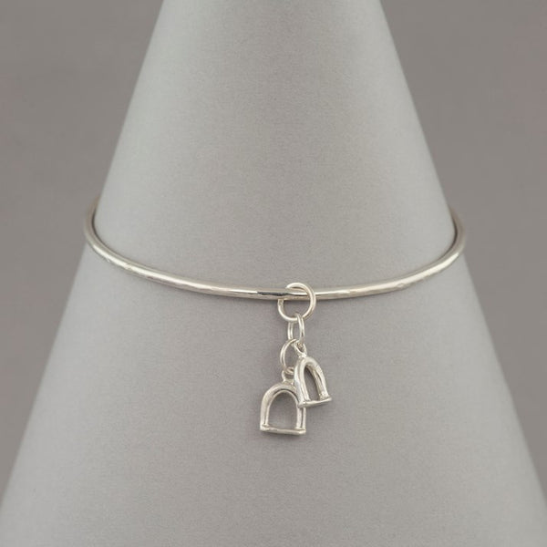Solid Silver Double Stirrup Charm Bangle