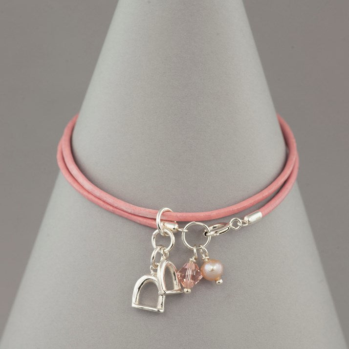 Pale Pink Leather and Silver Stirrup Charm Bracelet