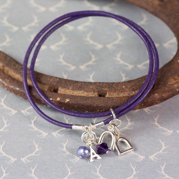 Personalised Equestrian Jewellery Purple Leather Silver Charm Bracelet