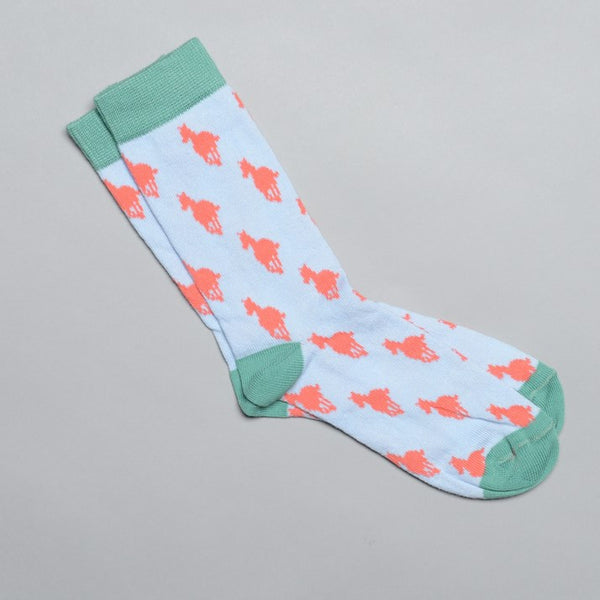 Girls Sky Blue and Apricot Horse Socks