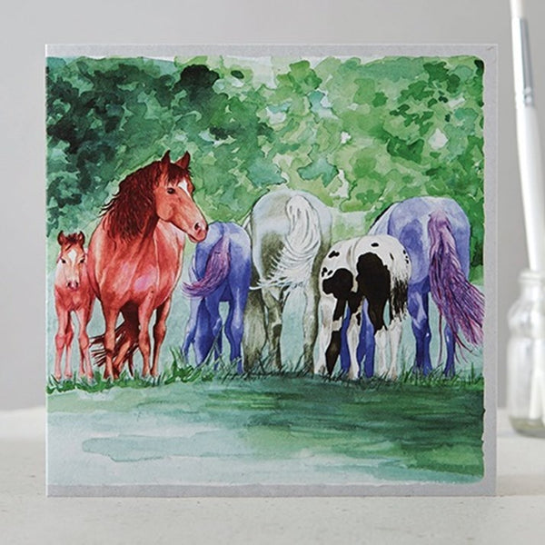 Grazing Herd of Horses Watercolour Greeting Card