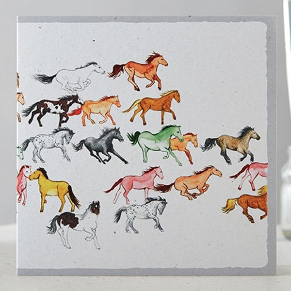 Coloured Herd of Horses Greeting Card