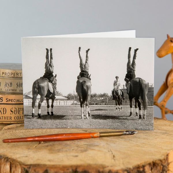 'Heels Down, I Said!' Horses Greeting Card