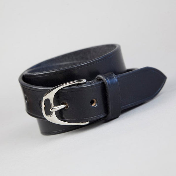 Black English Leather Stirrup Buckle Belt