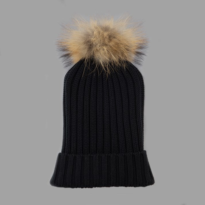 Black Cotton Rib Fur Pom Pom Hat