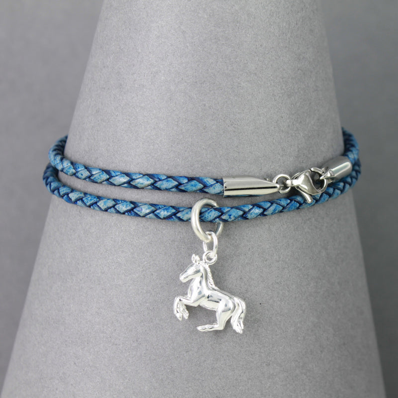 Plaited blue leather bracelet with sterling silver horse charm
