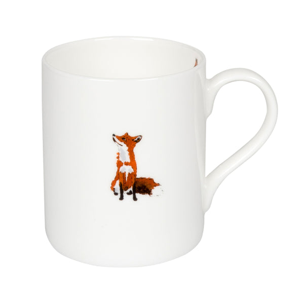White bone china mug with fox image on the front