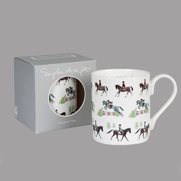 China mug with horse images. Also shown in grey cardboard box with cut out hole