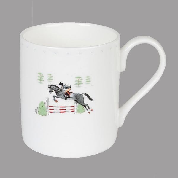 White bone china Showjumping Horse & Rider Mug