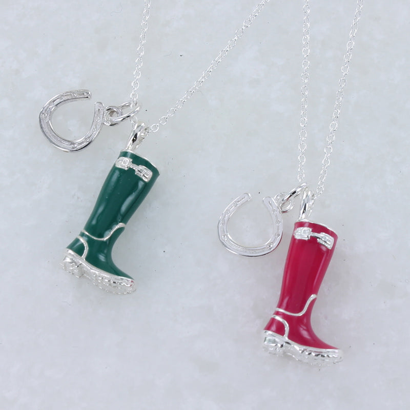 Sterling Silver and Enamel Welly Necklace
