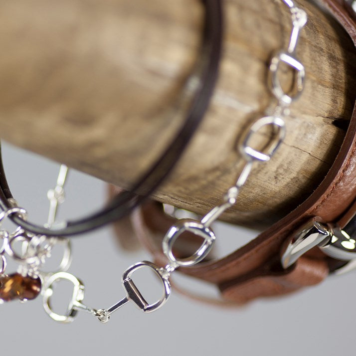 Chocolate Leather and Silver Stirrup Charm Bracelet