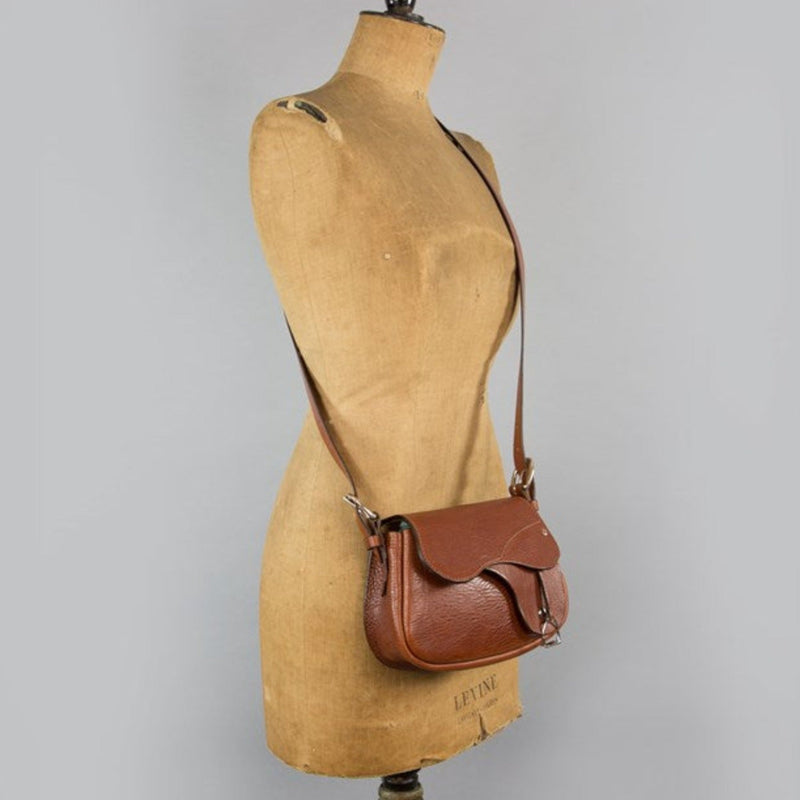 'Palomo' Leather Saddle Handbag - Cognac