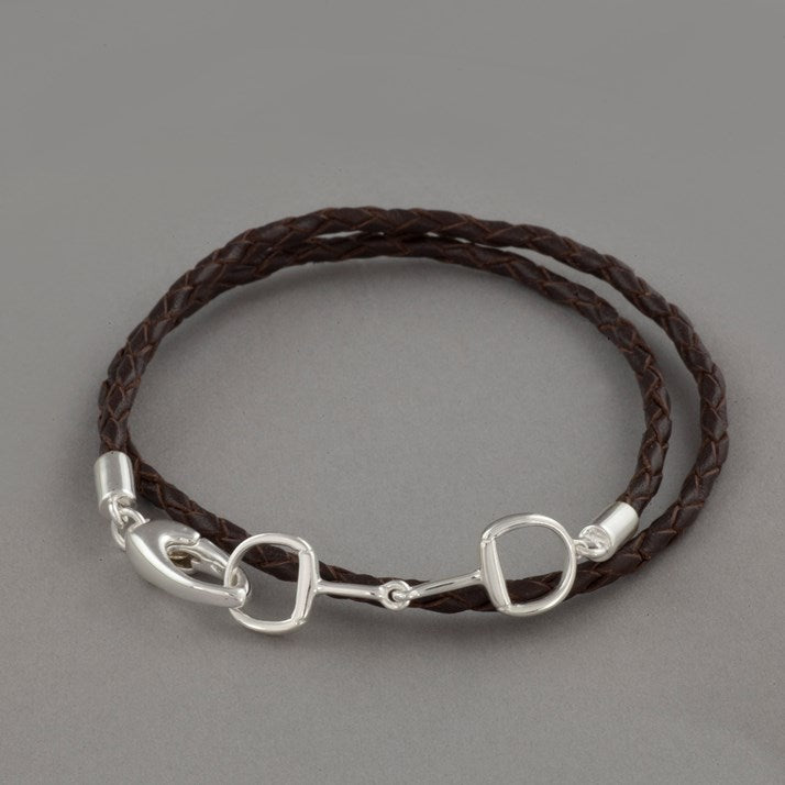Brown Leather & Sterling Silver Snaffle Bracelet