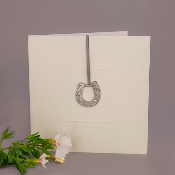 Metal Horseshoe Keepsake Greeting Card