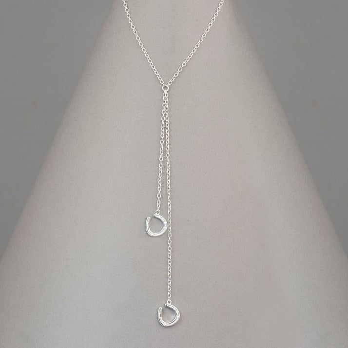Sterling Silver Falling Horseshoes Pendant