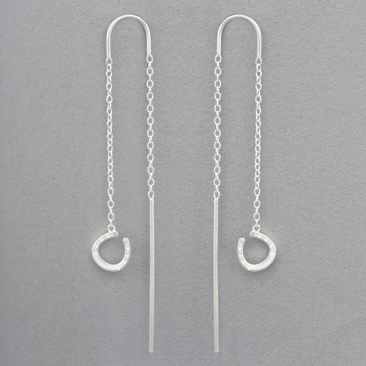 Sterling Silver Falling Horseshoe Earrings