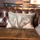 Grey Horses Linen/Velvet Cushion