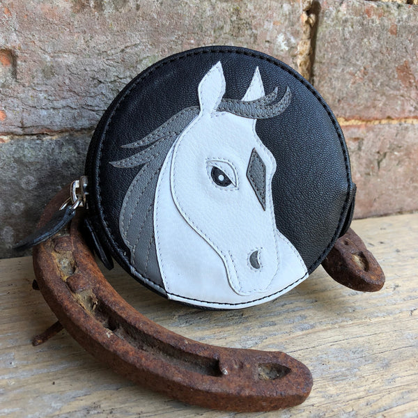 White Horse Round Coin Purse