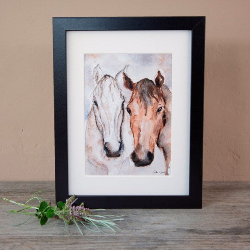 Bay & Grey Horse Friends Watercolour Mounted Print, black frame