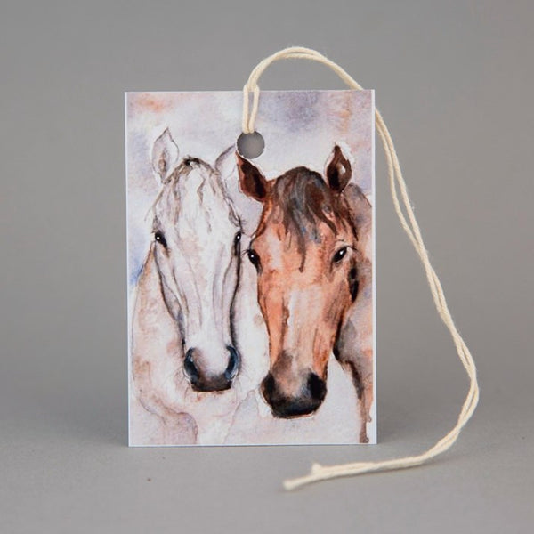 Bay & Grey' Horse Friends Watercolour Print Gift Tag