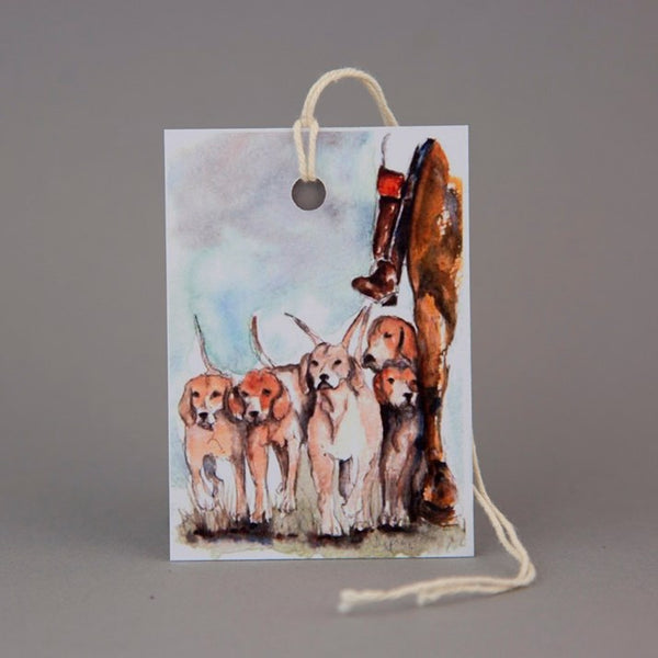 'Clean Boot' Hunting Watercolour Print Gift Tag