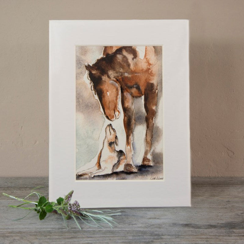 Horse & Hound Watercolour Mounted Print