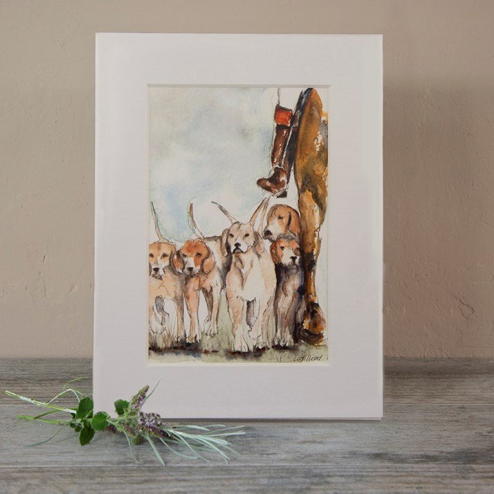 Hounds and Houndsmaster watercolour mounted print