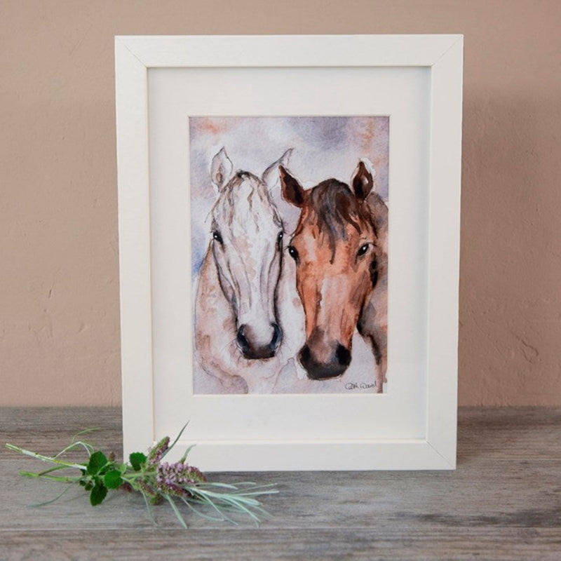 Bay & Grey' Horse Friends Watercolour Mounted Print in white frame