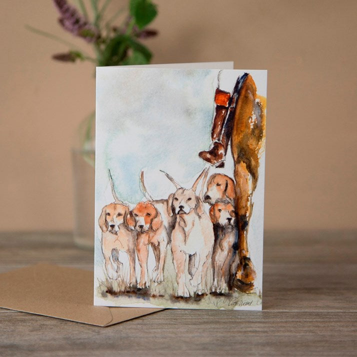 Houndsmaster and Hounds watercolour greeting card