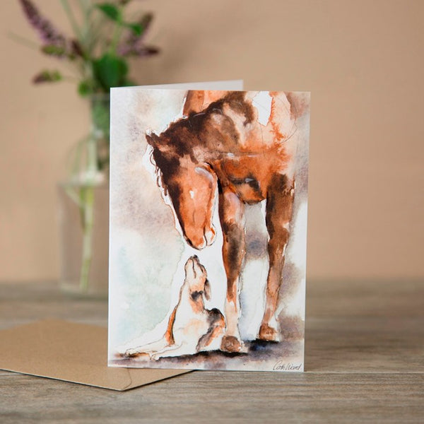 Horse & Hound Watercolour Greeting Card