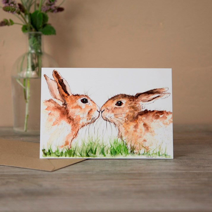 The Kiss' Hare Watercolour Greeting Card