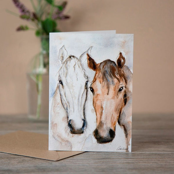 Grey & Bay' Horse Friends Watercolour Greeting Card