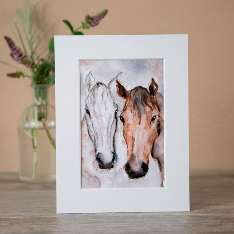 Bay & Grey Horse Friends Watercolour Mounted Print without frame